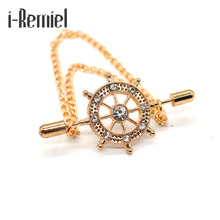 ФОТО 2017 limited special offer men trendy brooch plated anchor broche navy men's brooch rudder pin badge fringed suit accessories