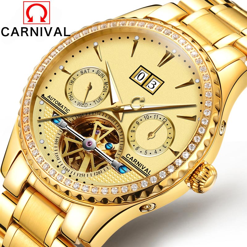 Фото Top Brand Luxury Business Men Diamonds Gold Watch Carnival Automatic Mechanical Tourbillon Watches Luminous Waterproof 30M Clock