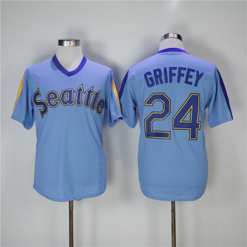 Mens Retro Ken Griffey Jr Stitched NameΝmber Throwback Baseball Jersey Size M-3XL mens bruno mars jersey 24 24k hooligans pinstriped bet awards throwback baseball jersey man uniforms stitched button down shirt