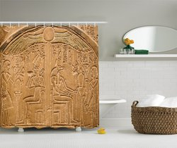 Egipski egipskie hieroglify kamień ścienny powierzchni skrypty obraz łazienka zasłona prysznicowa 75 cali z długim rękawem beżowy Ecru kości słoniowej