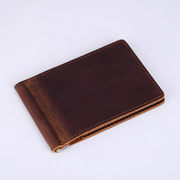 Genuine Leather Money Clip Wallet For Men Metal Clamp For Money Handmade Retro Money Clamps Dollar