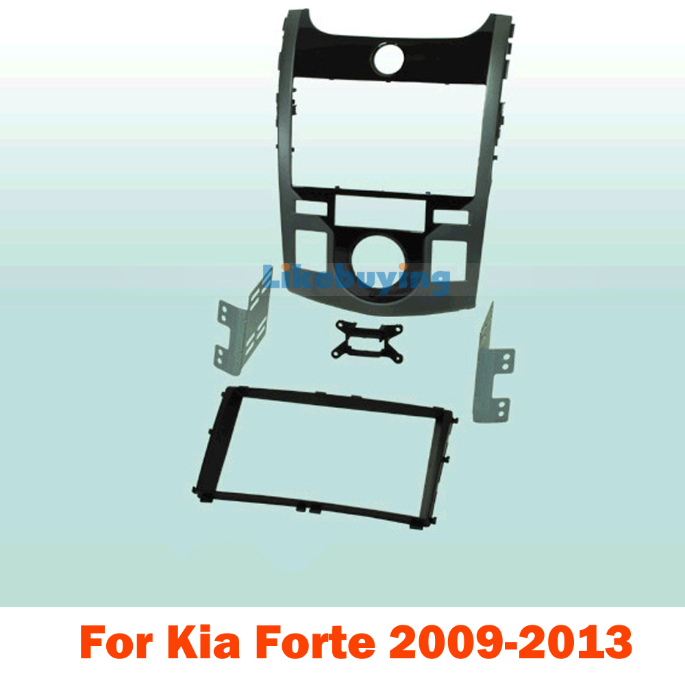 2 din carro fascia / Car Fascia Panel / Audio Panel Frame / Dash Kit For Kia Forte 2009 2010 2011 2012 2013 Free Shipping 2 din car dvd frame dashboard kits front bezel radio frame adaper dvd cover dash trim kit for kia rio 5 door rhd double din