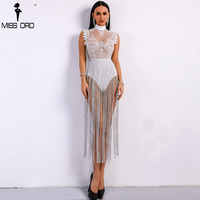 Missord 2018 Sexy Spring And Summer Tassel Playsuit Lace See Through Glitter Tassel Bodysuit FT8901