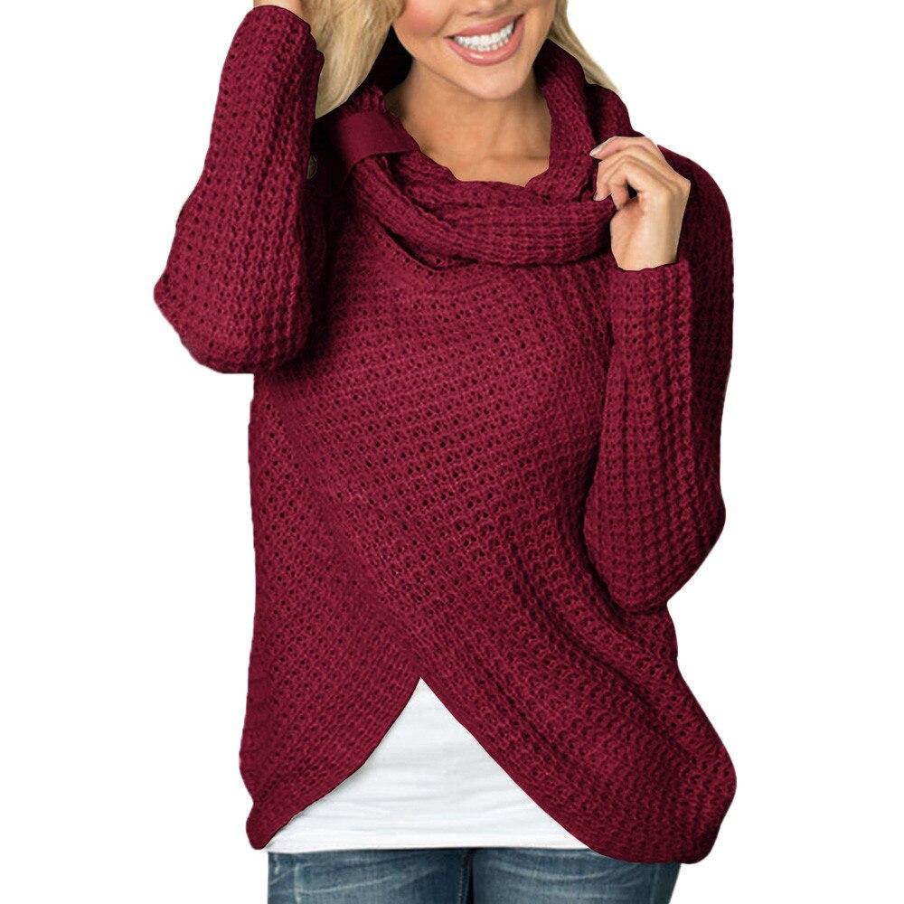 2018 Botton Rollkragen Unregelmäßigen Frauen Langarm Solide Sweatshirt Pullover Tops Shirt Baumwolle Ropa Juvenil Mujer # Vp1 HöChste Bequemlichkeit