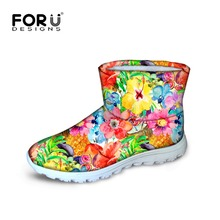 FORUDESIGNS Warm Ankle Women's Snow Boot Pretty Flower Printing Short Waterproof Rain Boots For Ladies Female Winter Cotton Shoe