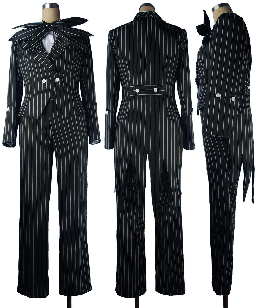 The Nightmare 6 Before Christmas Jack Skellington Stripe Uniform Men Adults Halloween Cosplay Costume Christmas Gift