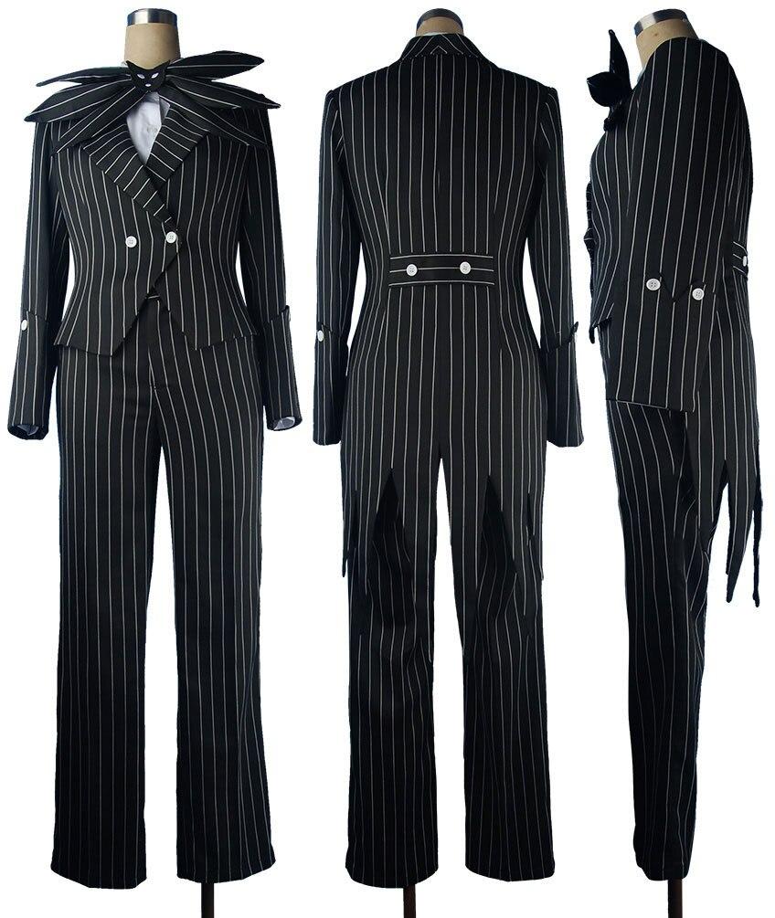 The Nightmare 6 Before Christmas Jack Skellington Stripe Uniform Men Adults Halloween Cosplay Costume Christmas Gift