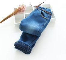 Nouveau Bébé Filles Hiver Wam Denim Jeans Filles Épais Hiver Jeans Enfants Occasionnels Pantalon Enfant Chaud Long Pantalon