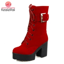 Coolcept Women Half Short Boots Winter Buckle Shoes Lace Up Martin Shoes Woman High Heel Shoes Snow Boots Shoes Size34-43 цены онлайн