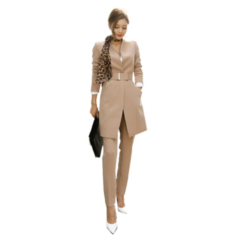 2019 Business Ladies Women Two Piece Outfits Formal OL Style Elegant Skinny Long Blazer Pants Two Pieces Sets 125