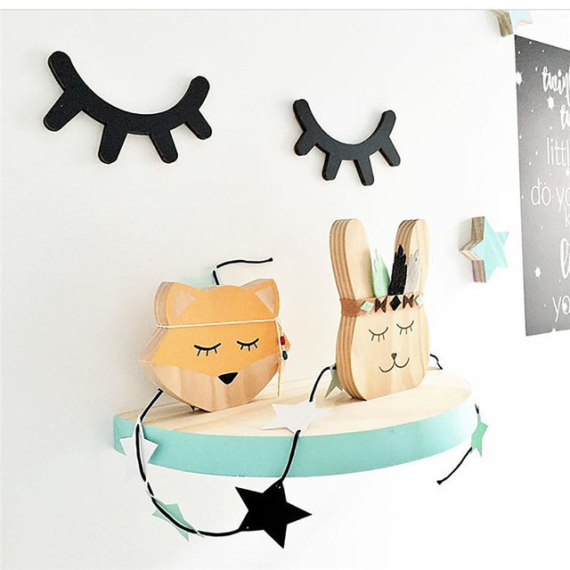 Cute Wooden Eyelash Home Furnishing Wall Decoration Closed Eye Pose  Ornament New Kids Present Baby Room Part 45