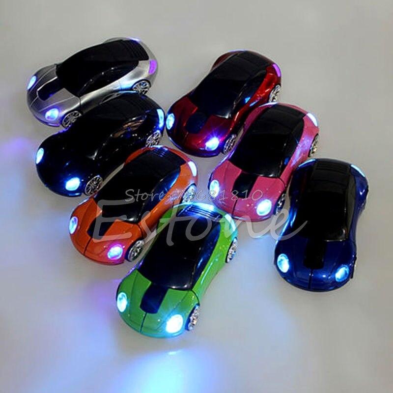 2.4 г 1600 Точек на дюйм Мышь USB приемник Беспроводной светодиодная автомобиля Форма оптический Мыши компьютерные D14