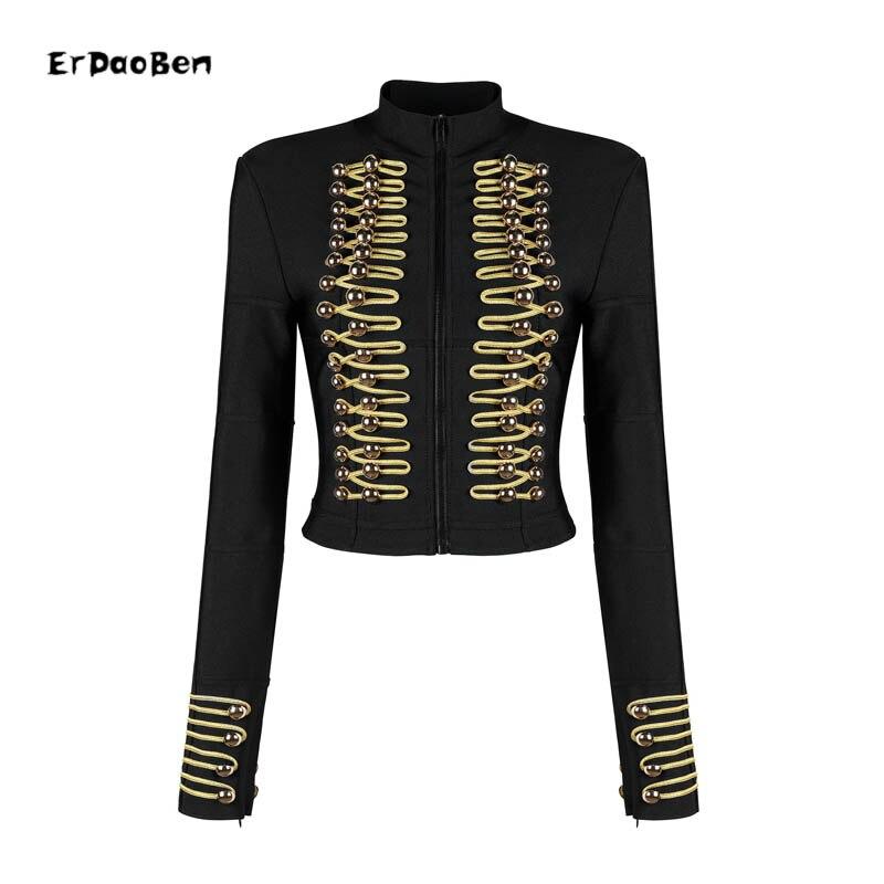 Blouson laine femme, boutons en or, à la mode, Rock, en mélange de laine, avec boutons militaires, H5365