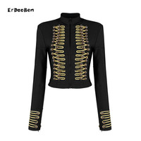 ERDAOBEN Unique Runway Fashion Rock Punk Jacket Women's Wool Blends Gold Buttons Army Napoleon Jacket H5365