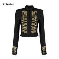 ERDAOBEN Unique Runway Fashion Rock Punk Jacket Women's Wool Blends Gold Buttons Army Napoleon Jacket H5365