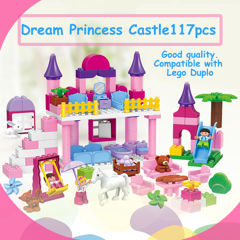 117PCS Princess Castle particle building blocks DIY toys Early Learning toy for girls self-locking blocks compatible with dduplo hm136 57pcs large particle building