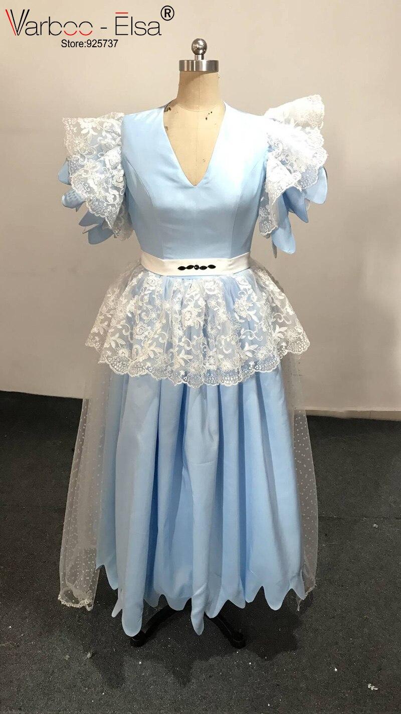 VARBOO_ELSA Light Blue Satin and Lace Evening Dress Cute Ruffles ...