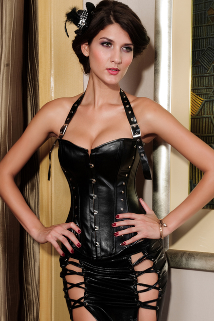 Women Black Leather Corset Steampunk Corset Waist Control Cincher Zipper Gothic Corset BustIer Chest Binder calca feminina 5269