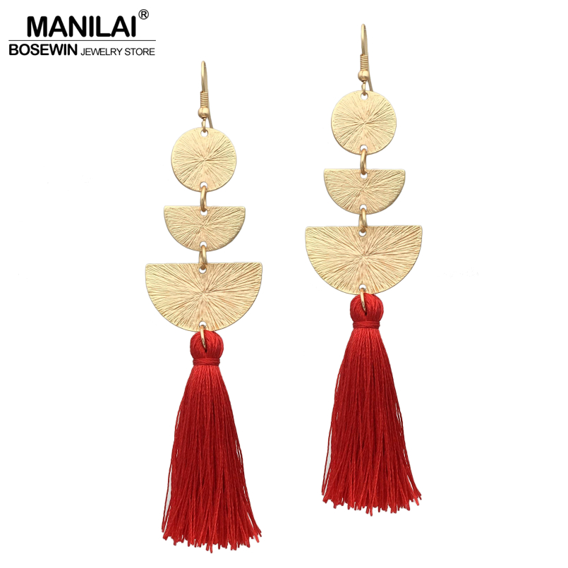 MANILAI Indian Jewelry Vintage Tassel Earrings Women 2018 Boho Geometric Alloy Fringed Drop Dangle Earrings Long Brincos