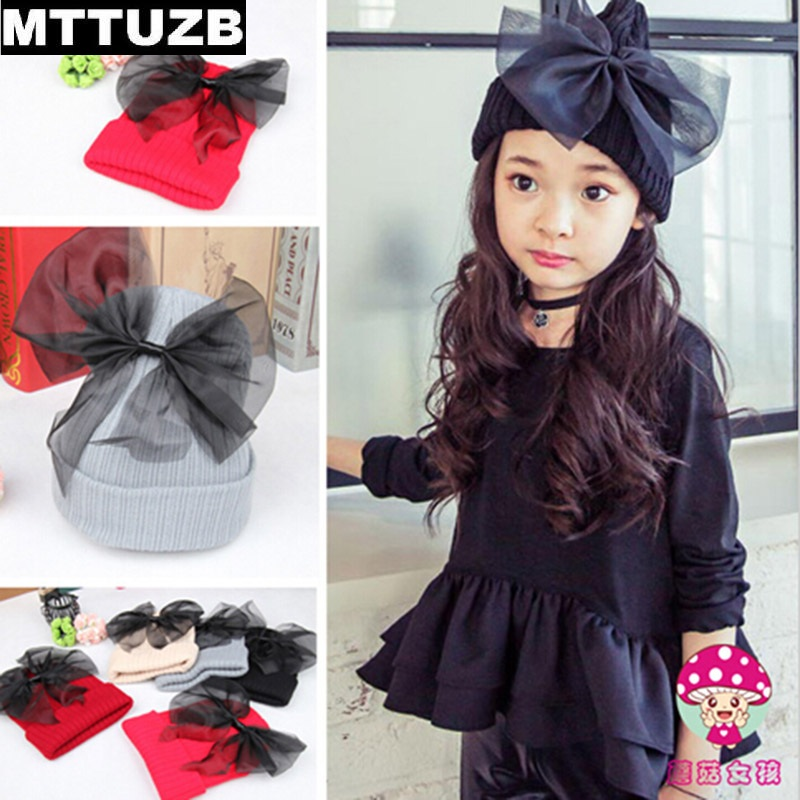 MTTUZB arrival children fashion big bowknot beanies hat baby girl's caps kid's winter wark knitted hats 5 colors