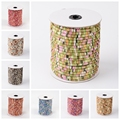 5mm; 50yard/roll Round Polyester Home Decor Ethnic Jewelry Making Thread Cloth Cords, Gold Wire, Coral Gray SkyBlue Colorful
