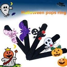 Halloween Decorations Pops Ring Cloth Pat Circle Bracelet Pumpkin Spider Skull Ghost Gift Kids