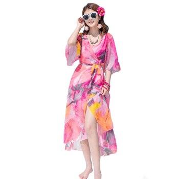dd033233fb4dd2e Сексуальное пляжное платье 2019 новое летнее богемное шифоновое платье  цветочный принт длинное платье Двухсекционный женский vestidos NW1565