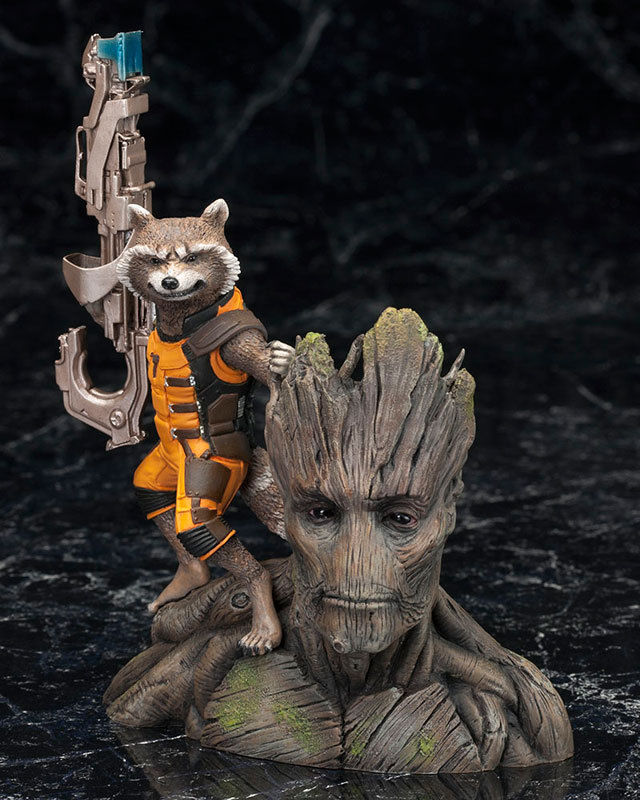Guardians Of The Galaxy Marvel Artfx+ Rocket Raccoon Figure Statue Toy Anime Figure Collectible Model Toy