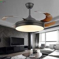 Современные Невидимый акриловый лист LED потолочных вентиляторов белый/черный стали светодиодный потолочный вентилятор освещение столовая