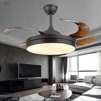 Современный Невидимый акриловый светодио дный лист светодиодный потолочный вентилятор белый/светодио дный черный стальной светодиодный п