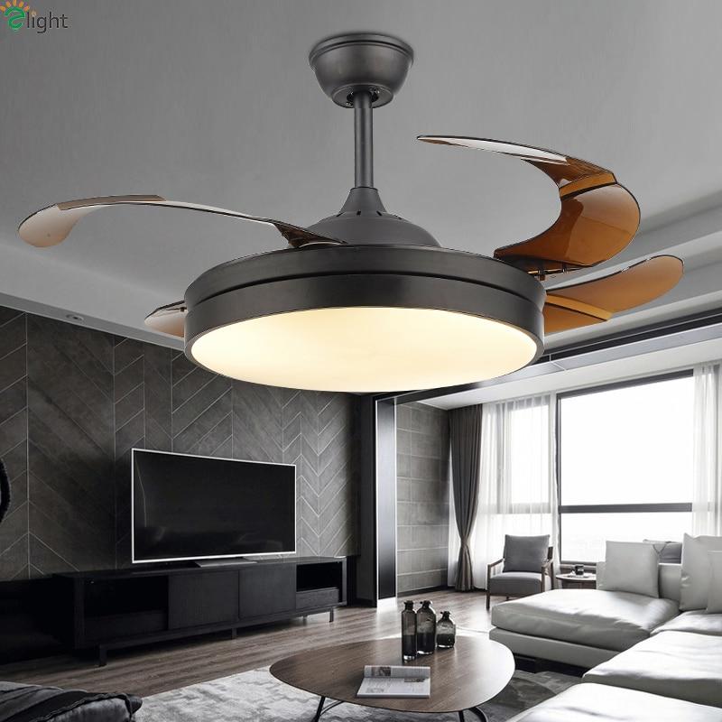 Moderne Invisible Feuille Acrylique Led Ventilateur de Plafond Blanc/Noir En Acier Led Ventilateur de Plafond Éclairage Salle à manger Dimmable Plafonniers