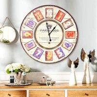Европейский ретро настенные часы американский кантри гостиная стены декоративные подвески антикварные настенные часы бар