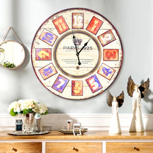 European retro wall clock American country living room wall hangings decorations antique wall clocks Wall Bar