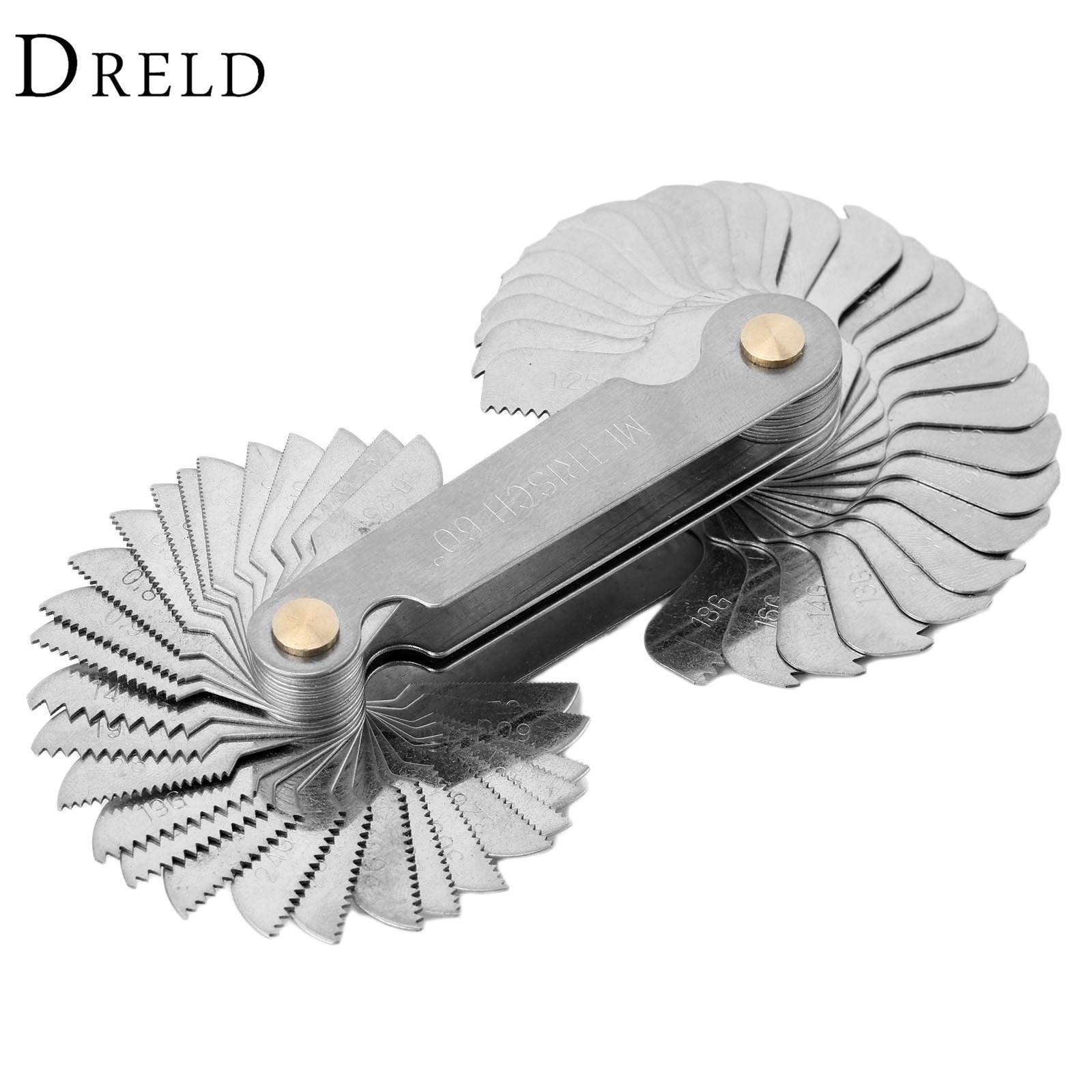 Измерительный прибор DRELD 58 шт., измерительный прибор для стальных нитей, метрический винт Whitworth и US, инструмент для измерения и измерения 60 гр...