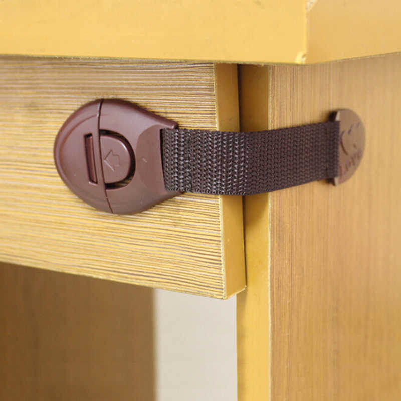 5 pçs novo marrom armário porta gavetas geladeira wc fechaduras de segurança para crianças bebê bloqueio de segurança