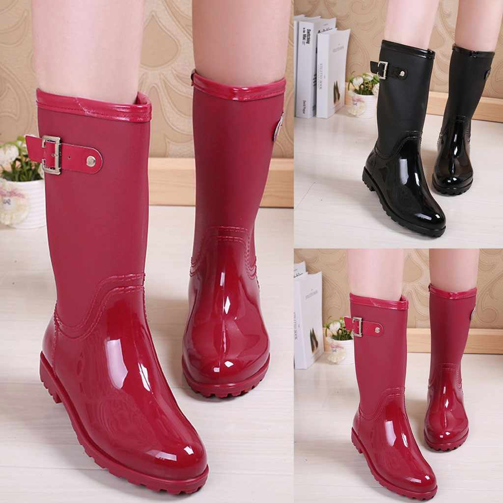 Punk Style Mid Snow Boots Women's Non-Slip Rain Boots Outdoor Rubber Water Shoes