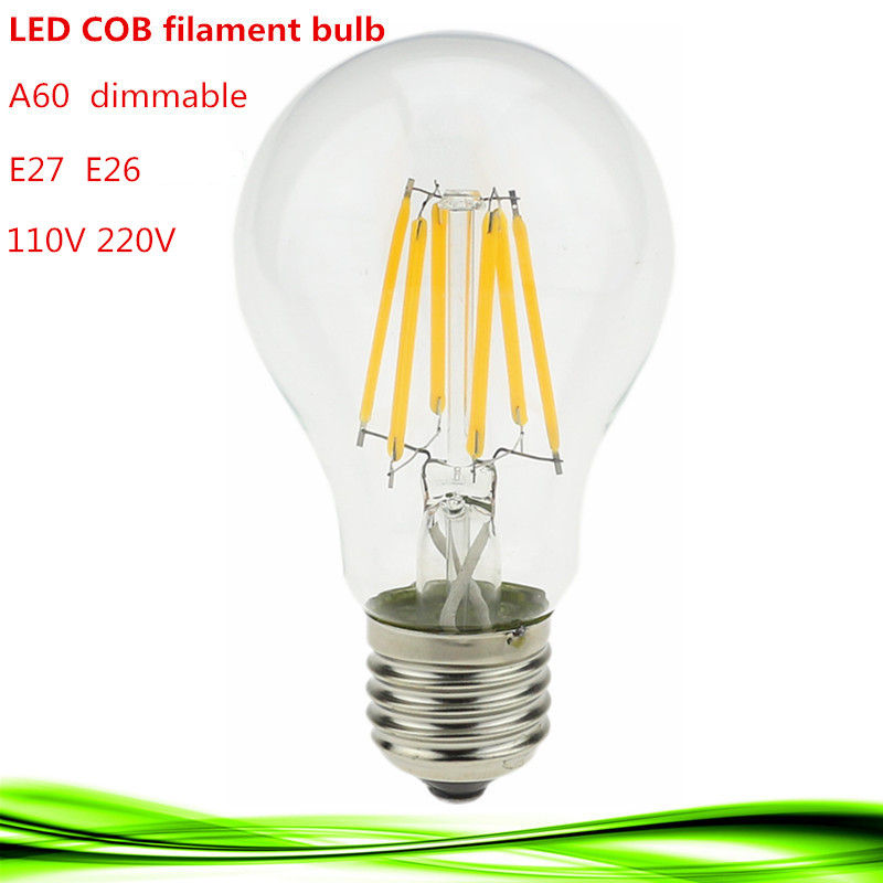 Retro LED Filament Light LED Bulb E27 E26 dimmable 2W 4W 6W 8W 110V / 220V A60 Clear Glass vintage edison lamp warm/pure white dimmable 1w 2w 3w 4w 6w led vintage filament bulb t20 t25 t30 tubular style warm white 110v 220vac e26 e27
