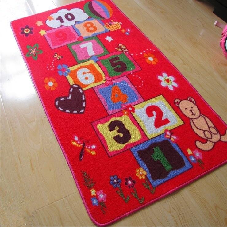 100% Nylon Pink Kids Rug 70*140CM Baby Room Carpet Creeping Pad For Little