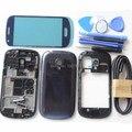 Синий Полный Дело Корпус-Экран Стеклянная Крышка Для Samsung Galaxy S3 мини I8190 Ближний Плиты Задняя Крышка Free USB Кабель Белый
