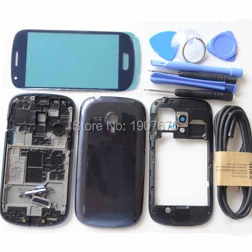 Azul ferramenta de caso da habitação cheia tampa de vidro da tela para samsung galaxy S3 mini I8190 Oriente Placa Tampa Traseira Livre USB Cabo Branco
