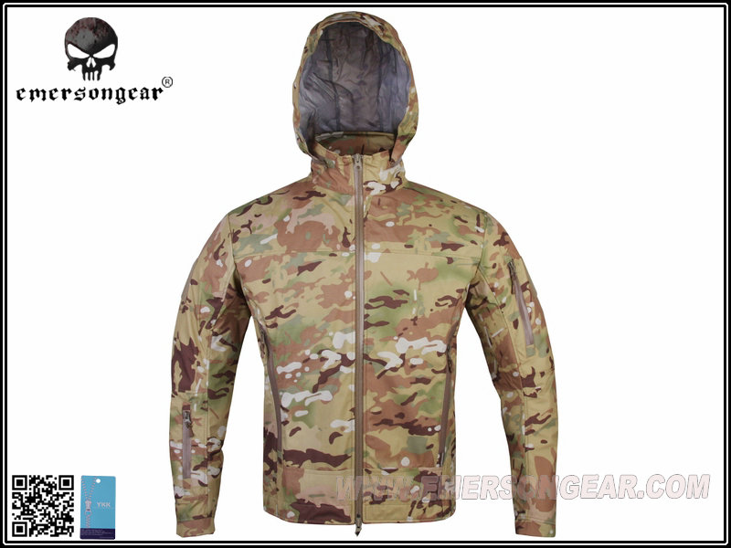 ФОТО EMERSON Tactical Soft Shell Jacket Hooded Outdoor Hunting Combat Cloth Light Breathable Perspiration Multicam Black FG EM6873