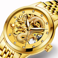 Dragon Mechanical Watches for Men Hodinky Gold Steel 50M Waterproof Tourbillon Skeleton Automatic Wrist Watch Relogio Masculino