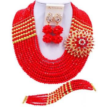 ACZUV Opaque Red African Jewelry Set Nigerian Beads Necklace 10C-2-2P-004