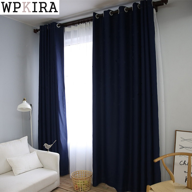90 Dark Blue Window Blackout Curtains For Bedroom Solid Green Color Curtain Living Room