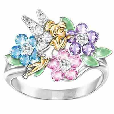 Huitan Magic Fairy Shaped Ring With Colorful Cubic Zircon Setting Flower Leaf Women Ring Band Birthday Gift For Girlfriend