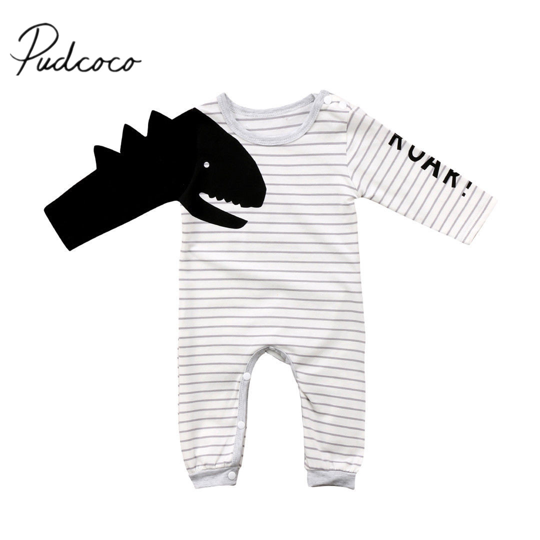2018 Brand New Newborn Toddler Infant Baby Boy Girl Long Sleeve Dinosaur   Romper   Jumpsuit Striped Outfits Set Boy Cool Clothes