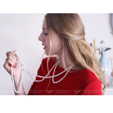 [DAIMI] 2016 Jewelry Pearl Necklace 7-8mm Natural Freshwater Pearl White Sweater Chain For Women Long Necklace CLARA