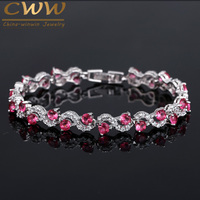 Luxury Silver Plated Rose Red Crystal Stone Women Bracelets Bangles With Cubic Zirconia Diamond Jewelry Christmas