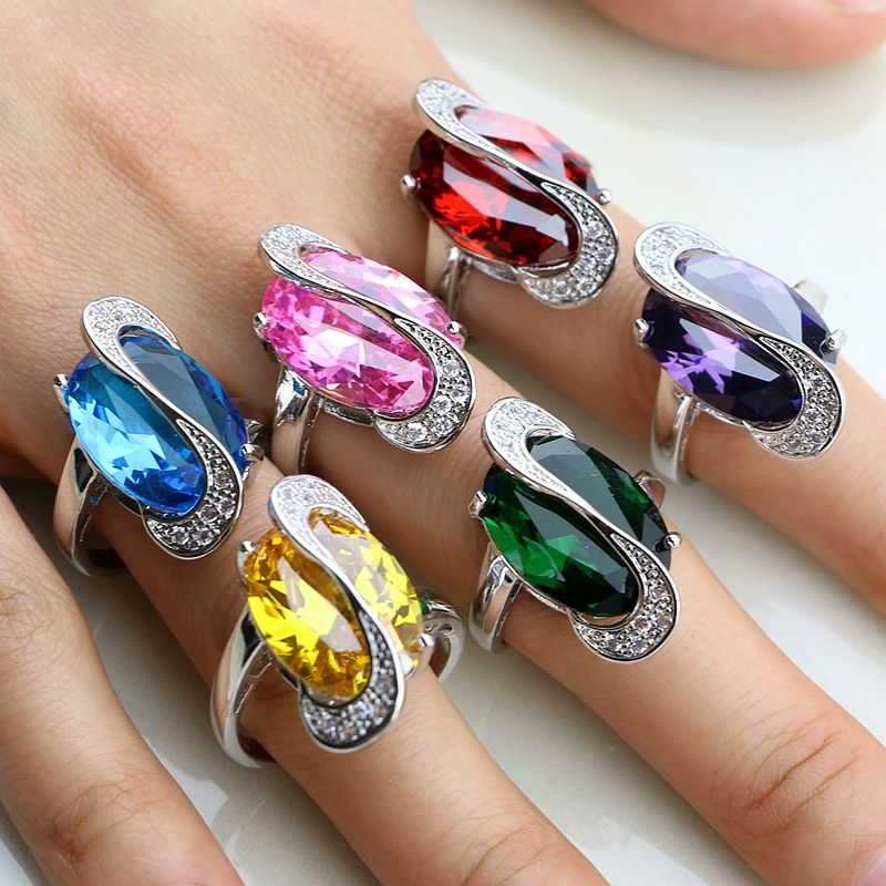 Модни 925 стерлинги сребърни бижута 11 Многоцветни циркониеви пръстени за жени Пръстени Размер 6 7 8 9 10