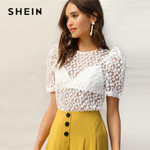 60c68755b8 SHEIN Sexy White Knot Back Puff Sleeve Embroidery Floral Mesh Sheer Blouse  Women Without Bra Summer Elegant Tops and Blouses